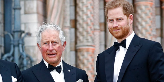Prince Harry (right) indicated that there is tension between himself and his father, Prince Charles (left). (Photo by John Phillips/Getty Images)