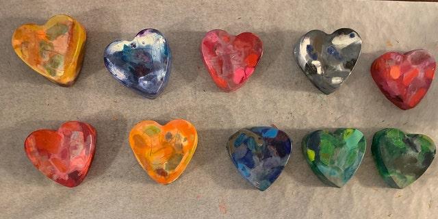 Peyton's homemade crayon hearts. (Courtesy L. Anderson/_eyeofachild)
