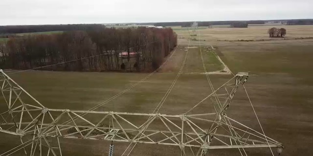 Ohio's solar boom is due to the area's flat, inexpensive land, strong solar resources, and proximity to transmission lines like this one in Highland, County Ohio, near Cochran's farmland.