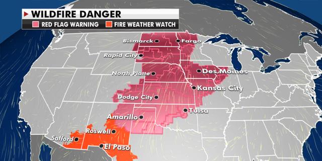 Current risk of fire danger around the U.S. (Fox News)