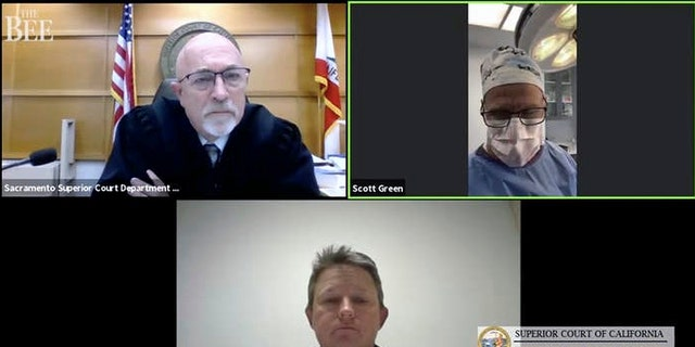 Zoom video conference collage captured by The Sacramento Bee, shows Dr. Scott Green who appeared Thursday, Feb. 25, 2021, for his Sacramento Superior Court trial, held virtually because of the coronavirus pandemic, from an operating room in Sacramento, Calif. (Superior Court of California/Sacramento Bee via AP)