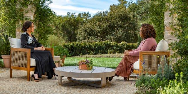 Meghan Markle spoke with Oprah Winfrey about joining the royal family. (Joe Pugliese/Harpo Productions via AP)