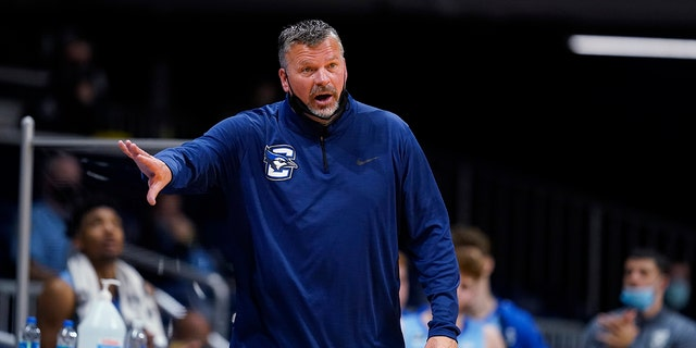 Creighton coach Greg McDermott watches the team during the second half of an NCAA college basketball game against Butler in Indianapolis on Jan. 16, 2021. (AP Photo/Darron Cummings, File)