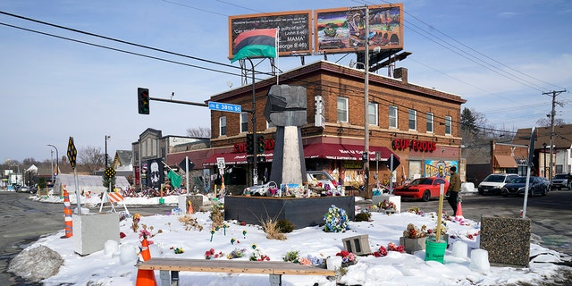 George Floyd Square is shown on February 8, 2021 in Minneapolis.  (AP Photo / Jim Mone)