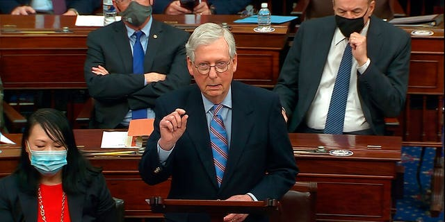 In this image from video, Senate Minority Leader Mitch McConnell of Ky., speaks before the final vote on the Senate version of the COVID-19 relief bill in the Senate at the U.S. Capitol in Washington, Saturday, March 6, 2021. (Senate Television via AP)