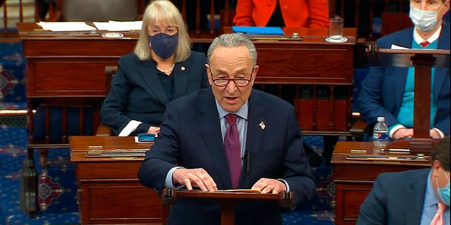 FILE: Senate Majority Leader Chuck Schumer of N.Y., speaks before the final vote on the Senate version of the COVID-19 relief bill in the Senate at the U.S. Capitol in Washington, Saturday, March 6, 2021.
