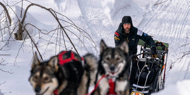 Richie Diehl mushes up the first part of the Happy River Steps on Sunday, March 14, 2021 during the Iditarod, in Alaska. The steps are normally a tricky downhill part of the race, but this year mushers are also doing it in reverse. (Loren Holmes/Anchorage Daily News via AP, Pool)