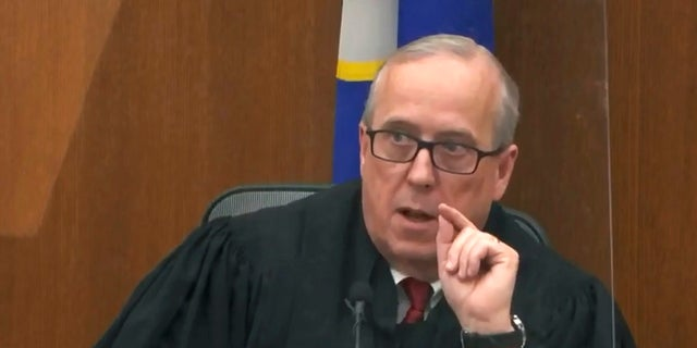 In this image taken from video, Hennepin County Judge Peter Cahill presides over pre-trial motions, prior to continuing jury selection, Monday in the trial of former Minneapolis police officer Derek Chauvin, at the Hennepin County Courthouse in Minneapolis, Minn. Chauvin is charged in the May 25, 2020, death of George Floyd. (Court TV/Pool via AP)