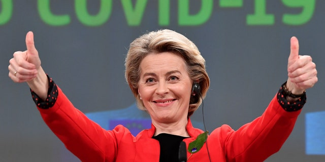 European Commission President Ursula von der Leyen gestures after participating in a media conference on the Commissions response tothe coronavirus on March 17, 2021.(John Thys, Pool via AP)