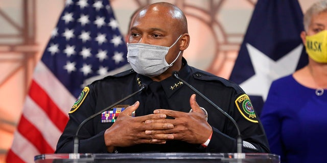 Houston Police Department Executive Assistant Chief Troy Finner speaks during a news conference Thursday, March 18, 2021, at Houston City Hall in Houston. (Yi-Chin Lee/Houston Chronicle via AP)