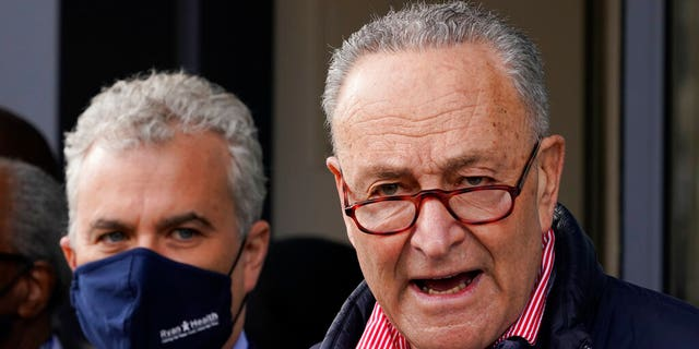 Jeff Zients, White House COVID coordinator, left, joins Senate Majority Leader Chuck Schumer, D-N.Y. as he speaks to reporters during a news conference, Friday, March 19, 2021, in New York. (AP Photo/Mary Altaffer)
