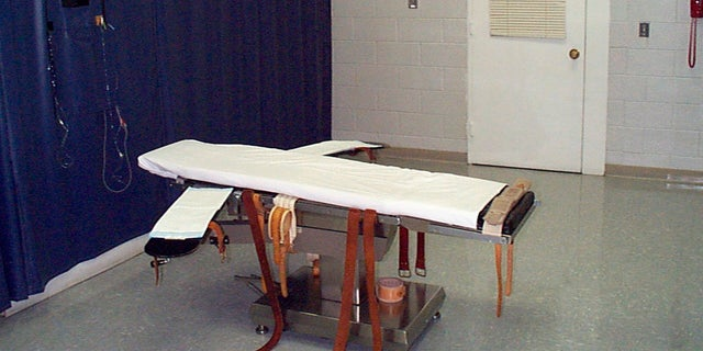 This undated file photo provided by the Virginia Department of Corrections shows the execution chamber at the Greensville Correctional Center in Jarratt, Va. Virginia Gov. Ralph Northam scheduled a tour Wednesday, March 24, 2021, of the death chamber at the Greensville Correction Center, then planned to sign the landmark legislation. (Virginia Department of Corrections via AP, File)