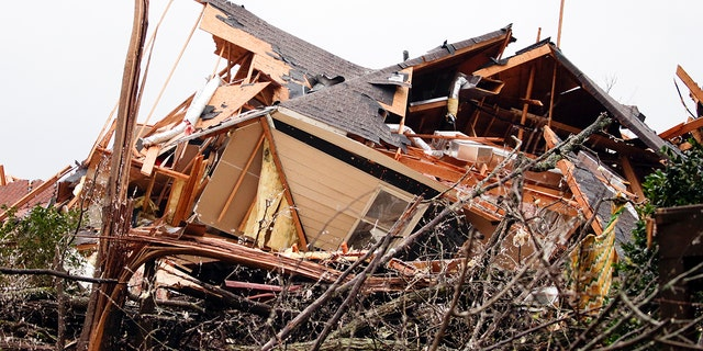 A house is totally destroyed after a tornado touched down south of Birmingham, Ala., March 25, 2021. (Associated Press)