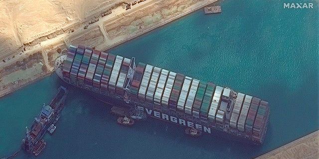 The cargo ship MV Ever Given stuck in the Suez Canal near Suez, Egypt. (Maxar Technologies via AP)