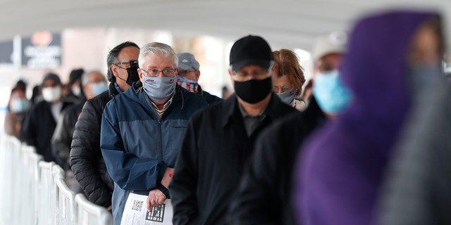 People wait in line at the check-in area to enter the United Center mass COVID-19 vaccination site Wednesday, March 10, 2021, in Chicago.
