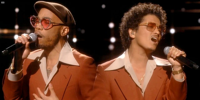 Anderson .Paak (left) and Bruno Mars (right) performed their song 'Leave The Door Open' as Silk Sonic on the Grammys on Sunday. (Photo by Theo Wargo/Getty Images for The Recording Academy)