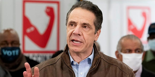 Gov. Andrew Cuomo speaks during a visit to a new COVID-19 vaccination site, Monday, March 15, 2021, at the State University of New York in Old Westbury, N.Y.