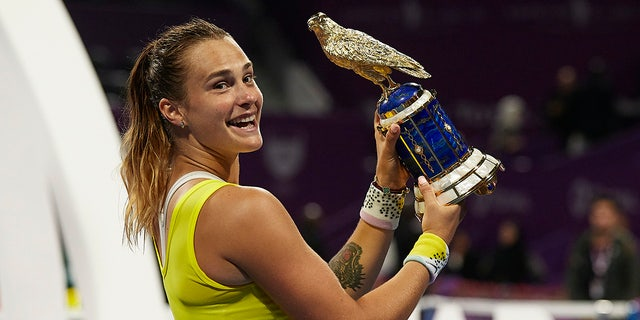 Aryna Sabalenka of Belarus celebrates with the trophy following the Women's Singles Final match at Khalifa International Tennis and Squash Complex on Feb. 29, 2020 in Doha, Qatar. (Photo by Quality Sport Images/Getty Images)