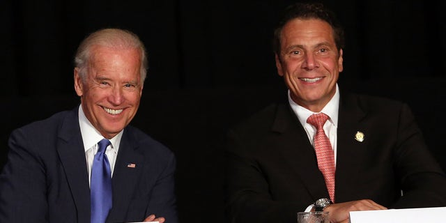 """Joe Biden (left) and Andrew Cuomo (July 27, 2015) in New York City were the targets of some """"SNL"""" Jokes on Saturday night.  (Getty Images)"""