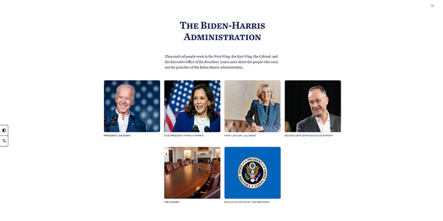 "The ""administration"" tab on the White House's official website.  (whitehouse.gov)"