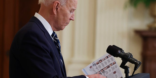 President Joe Biden speaks during the first formal press conference of his presidency in the East Room of the White House in Washington, D.C. on Thursday, March 25, 2021.†(Photo by Oliver Contreras/Sipa USA) No Use Germany.