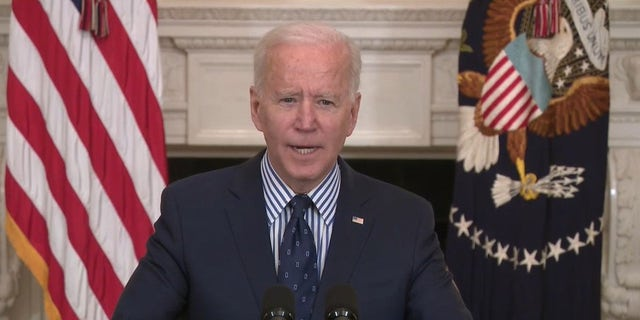 President Biden speaks at the White House on Saturday, March 6, 2021. A group of top administration officials toured facilities on the Southern border earlier this month.
