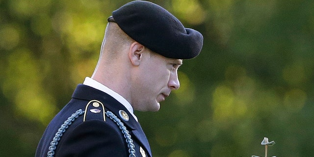 FILE - In this Nov. 3, 2017, file photo, Army Sgt. Bowe Bergdahl leaves the Fort Bragg courtroom facility during deliberations at a sentencing hearing in Fort Bragg, N.C. (AP Photo/Gerry Broome, File)