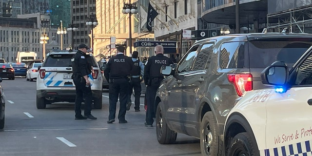 Chicago Police during St Patrick's Day weekend in the city