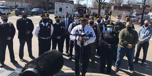 Chicago Police hold a press conference regarding the shooting of a police officer on March 20, 2021 (Chicago Police Superintendent David O. Brown Twitter)