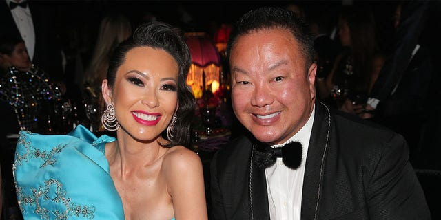 Christine Chiu and Dr. Gabriel Chiu attends the amfAR Cannes Gala 2019 at Hotel du Cap-Eden-Roc in May 2019 in Cap d'Antibes, France.