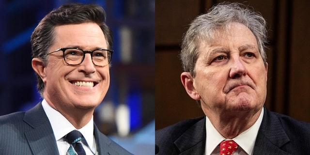 Stephen Colbert took jabs at Sen. John Kennedy over his stance on gun control.