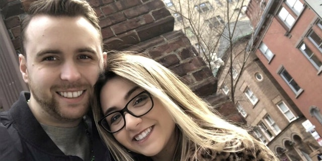 Courtney Mahnken andNick Monguso are engaged, and were born next to each other in the same New Jersey hospital 26 years ago.