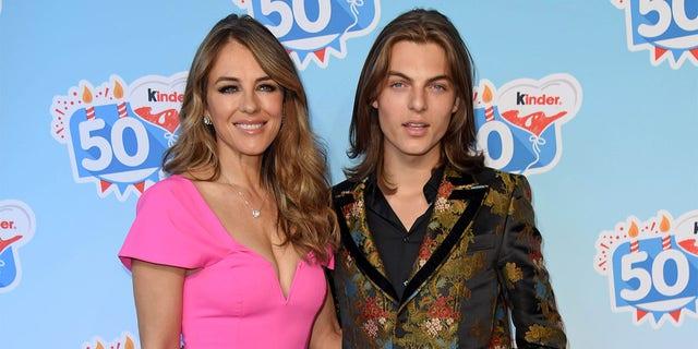 Elizabeth Liz Hurley and her son Damian Hurley.