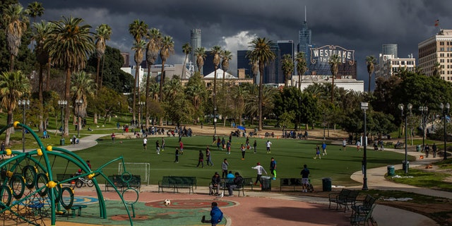 MacArthur Park is seen in Los Angeles, March 19, 2020. (Getty Images)