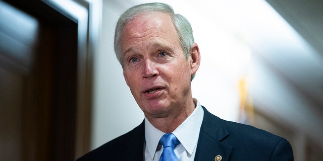FILE - Su. Ron Johnson, R-Wis., talks with a reporter before a Senate Homeland Security and Governmental Affairs Committee hearing on Dec. 16, 2020. (Photo By Tom Williams/CQ-Roll Call, Inc via Getty Images)