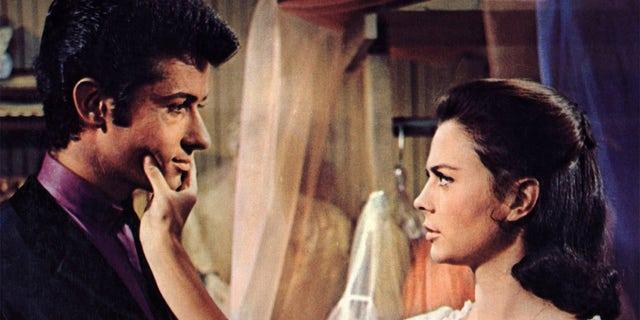 George Chakiris with Natalie Wood filming 'West Side Story'.