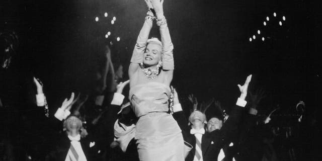 Marilyn Monroe performing in 'Gentlemen Prefer Blondes'.