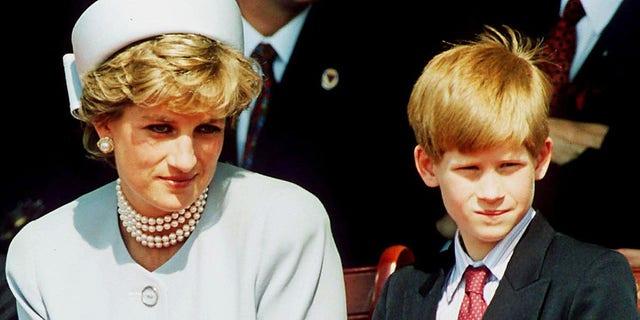 Princess Diana with her son Prince Harry, circa 1995.