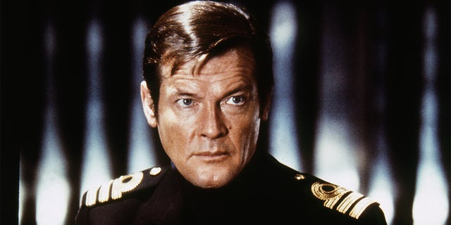 """Actor Roger Moore on the set of """"The Spy Who Love Me."""""""