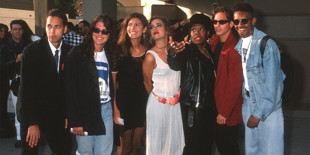 'The Real World' cast l-r: Norman Korpi, Andre Comeau, Julie Oliver, Rebecca Blasband, Heather B., Eric Nies and Kevin Powell.