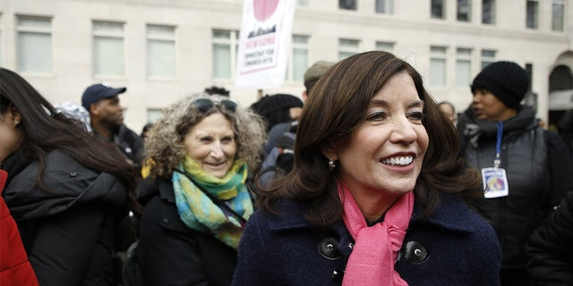 Lieutenant Governor of New York Kathy Hochul participates in the 2020 Women's March on Jan. 18, 2020 in New York City. (Photo by John Lamparski/Getty Images)