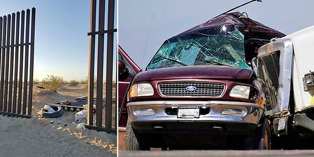 At left is an opening in a metal fence along the U.S.-Mexico border in California. At right is a Ford Expedition SUV that crashed with a big rig, resulting in 13 deaths. (Border Patrol/Associated Press)