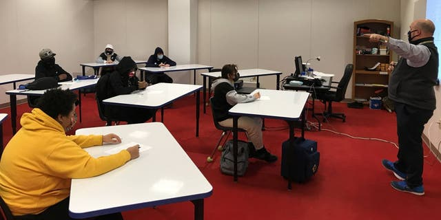 Students who have opted in to Burlington High School's hybrid learning program attend classes two days per week for in-person instruction. (Burlington School District)
