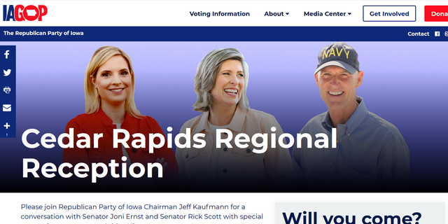 National Republican Senatorial Committee chair Sen. Rick Scott of will headline an Iowa GOP event and fundraiser in Cedar Rapids on Thursday, April 1, with Sen. Joni Ernst, Rep. Ashley Hinson and state party Chair Jeff Kaufmann to help raise funds for Republicans.