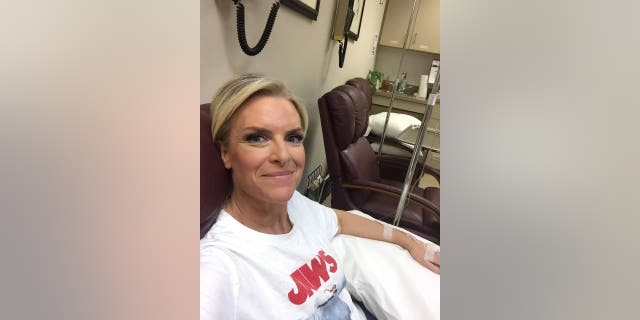 Janice Dean getting an infusion as part of her treatment for MS.