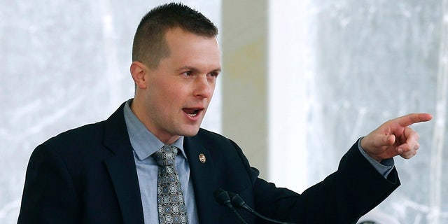 In this April 27, 2019, file photo, Rep. Jared Golden, D-Maine, speaks in Bath, Maine. Golden was the only Democrat lawmaker to break with his party and vote against the .9 trillion COVID-19 relief package on Wednesday, March 10, 2021.
