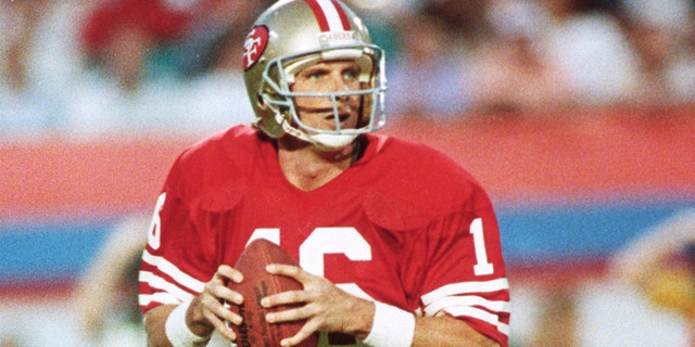 MIAMI, FL - Jan. 31: Joe Montana, # 16 of the San Francisco 49ers, returns to defeat Cincinnati in Super Bowl XXIII on January 31, 1989 in Joe Rob. Bie Stadium in Miami, Florida, the 49ers won the Super Bowl 20-16 (Photo by Focus on Sport / Getty Images).