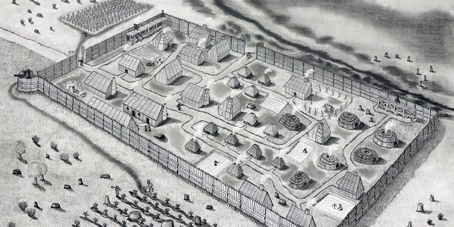 Conjectural drawing of St. Mary's Fort based on the geophysical survey (Drawing by Jeffrey R. Parno)