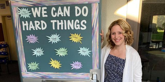 Katie Booser in her classroom atFranklin Elementary School in Santa Barbara, California.
