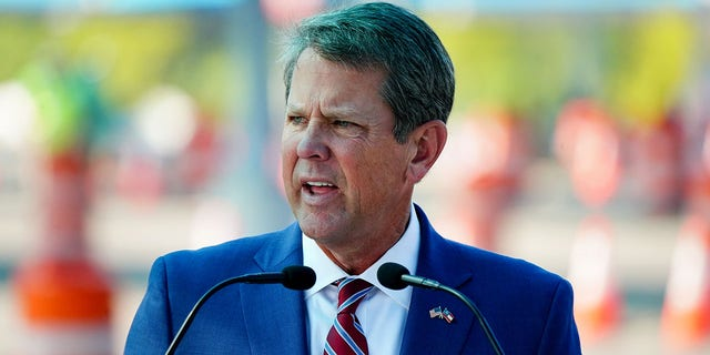 Georgia Governor Brian Kemp speaks during a news conference on the Aug. 10, 2020 expansion of nationwide COVID testing in Atlanta, Georgia.Kemp recently signed a new election law in Georgia.